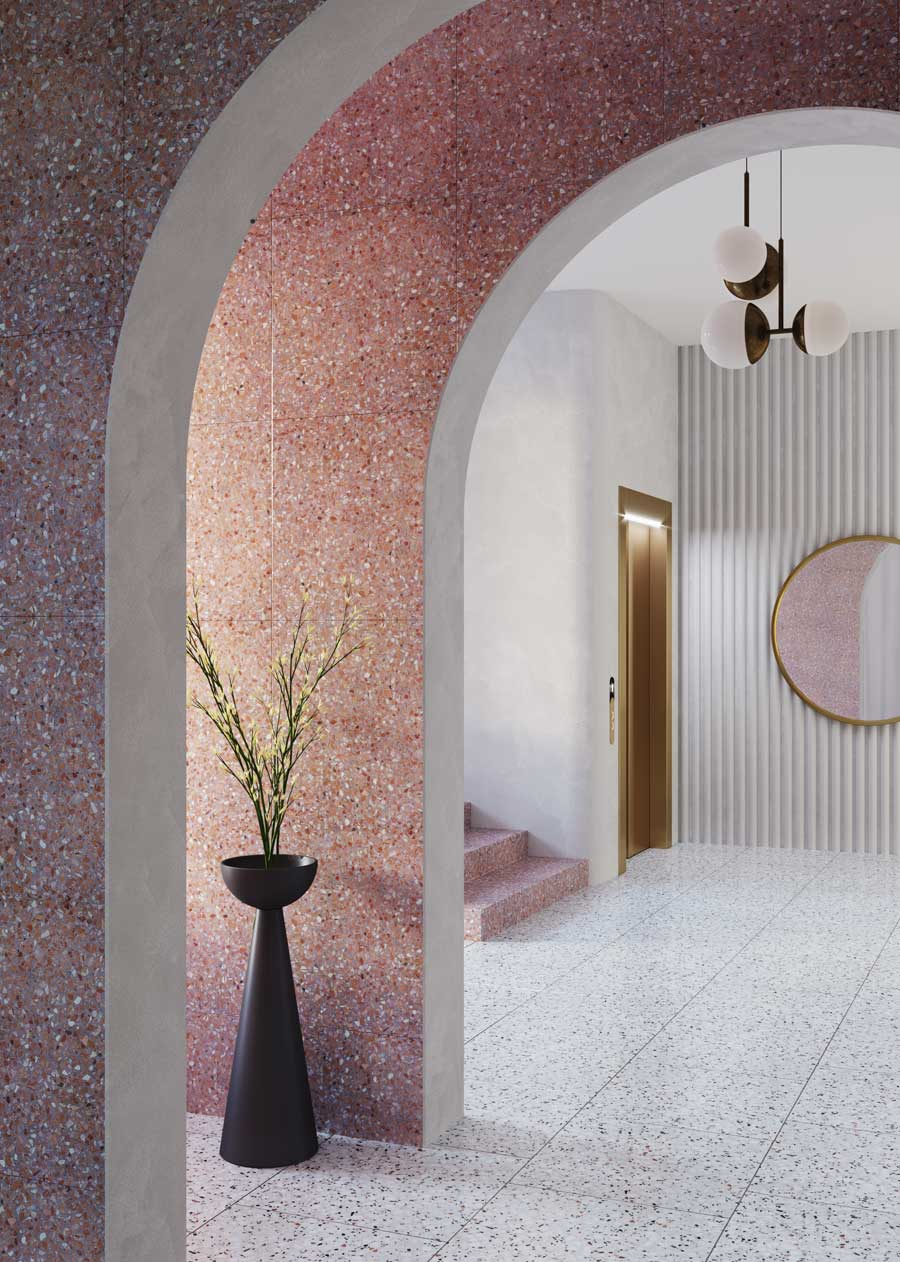 entry way with pink and white terrazzo tiles