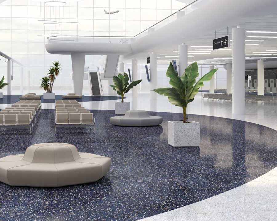 terrazzo tiling at airport